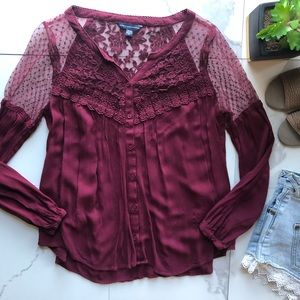 American Eagle Red Lace Long Sleeve Button Top